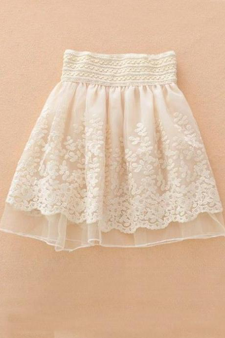 High Quality Cute Apricot Embroidery Tiered High Waist Loose Chiffon Skirt in Stock, Lovely Skirt, Skirts, Women Skirts
