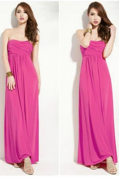 Strapless Pleated Tube Dress In Fuschia Pink