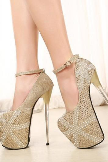 Rhinestone Design Ankle Strap Sexy High Heels Party Pumps In Gold
