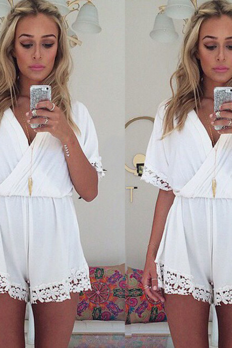 White Crochet Lace Backless Halterneck Fringed Jumpsuit Shorts
