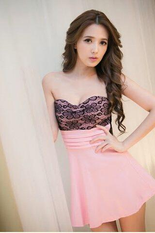 Flower Lace Bra nightclub dress women dress