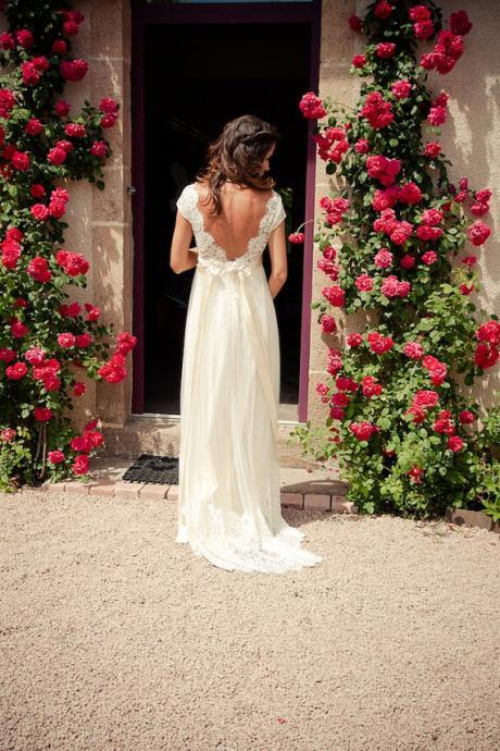 A line V neck Simple Cap Sleeves Lace Wedding Dresses , Wedding Gowns, Bridal Dresses, Bridal Gowns, Lace Backless Wedding Dresses with Sash