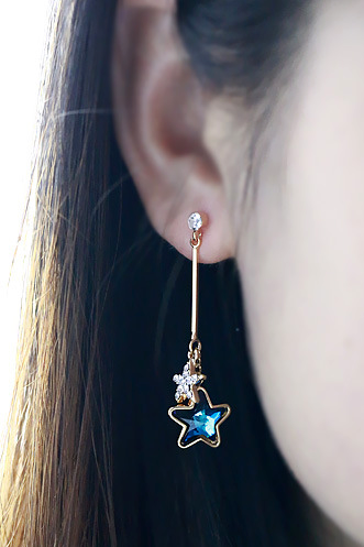 Rhinestone & Faux Gem Star Bar Drop Earrings