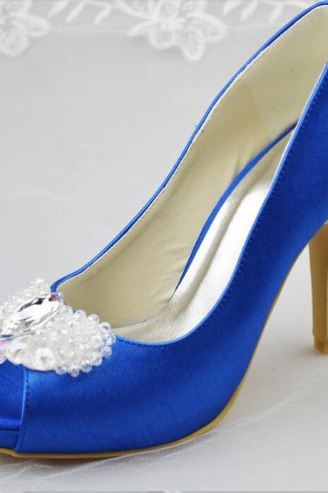 New Arrival Royal Blue Satin Women Pumps Low Heel Closed Pointed Toe Women Dress Shoes,wedding shoes