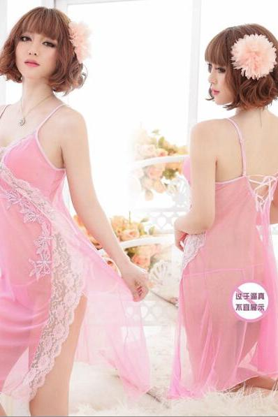 Sexy Pyjamas Sleepwear Underwear set lace mesh dress+T pants uniform crazy set Free Shipping 1005Pink