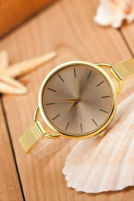 Golden/ Silver Fashion Woman Girl Lady Quartz Wrist Watch Style Stainless steel Watches