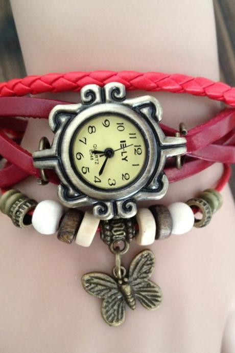 Handmade Vintage Real Leather Strap With Butterfly Decorated Watches Woman Girl Quartz Wrist Watch Bracelet Red