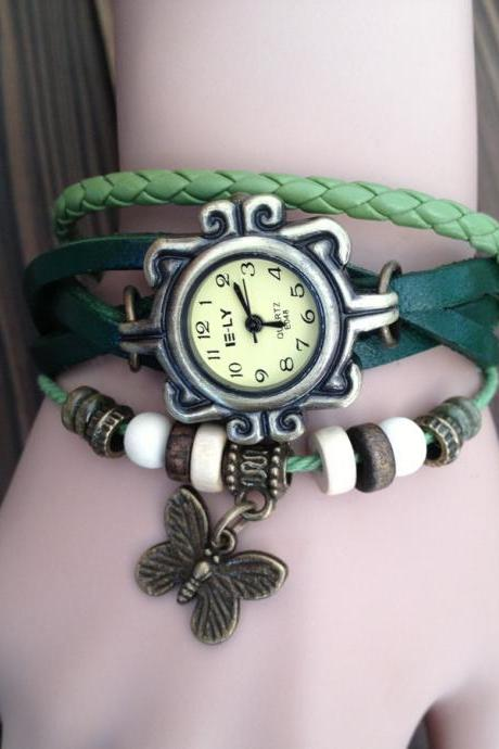Handmade Vintage Real Leather Strap With Butterfly Decorated Watches Woman Girl Quartz Wrist Watch Bracelet Green