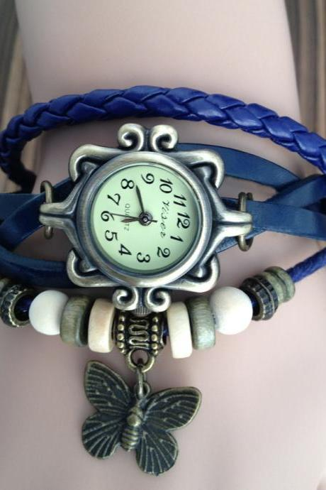 Handmade Vintage Real Leather Strap With Butterfly Decorated Watches Woman Girl Quartz Wrist Watch Bracelet Blue