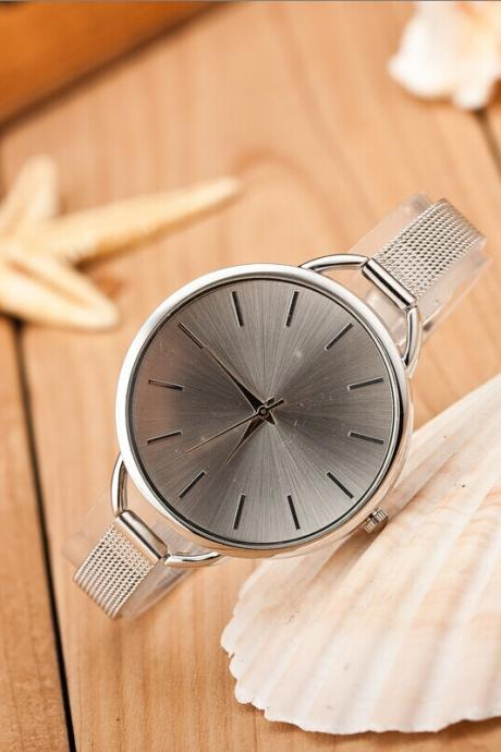 Silver Fashion Woman Girl Lady Quartz Wrist Watch Style Stainless steel Watches