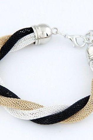 Casual three colors alloy school teenage white bracelet