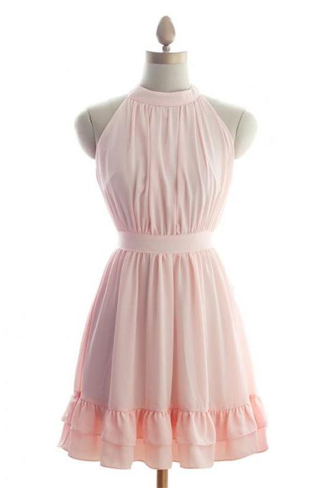Pretty Chiffon Pink Halter Short Prom Gown with Bow, Cute Short Prom Dresses 2015, Bridesmaid Dresses, Formal Dresses, Homecoming Dresses, Graduation Dresses