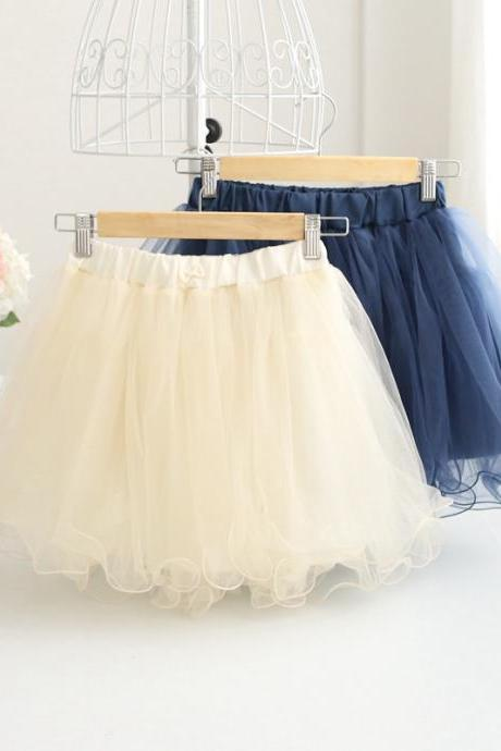 Ruffled Elastic Waistband Short Tulle Skirt - Apricot,Blue