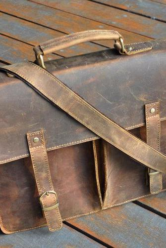 Handmade Genuine Leather Messenger Bag 15.4-inch Laptop Bag MacBook Bag