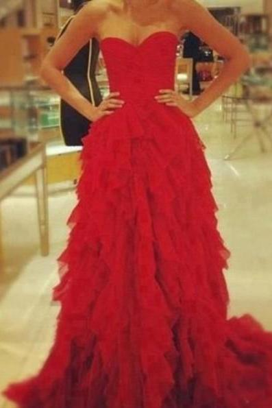 Custom Made Red A line Sweetheart Court Train Prom Dresses, Formal Dresses, Graduation Dresses
