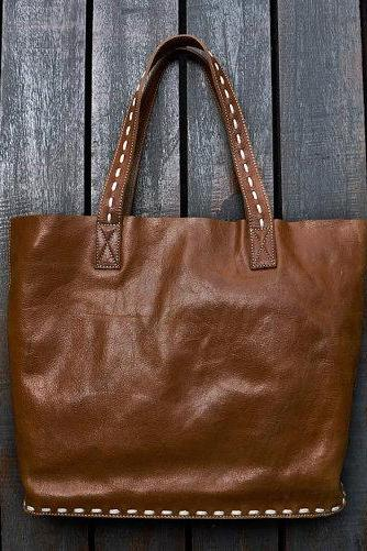 Women's Handmade Leather Commuter Travel Tote Shopper Bag Shoulder Bag 12