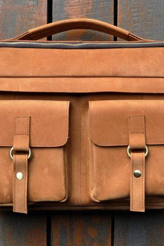 Handmade Genuine Leather Messenger Bag 14 Inch Laptop Bag MacBook Bag 16