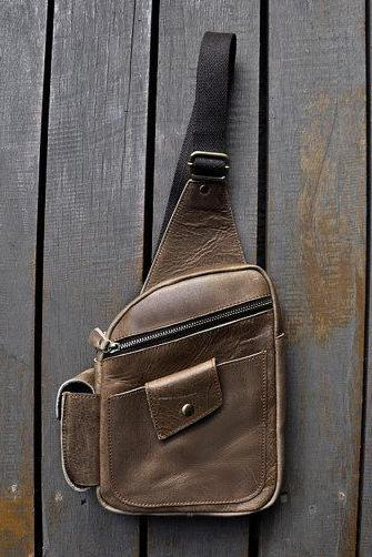 Men's Handmade Genuine Leather Cross Body Chest Pack Fit for iPad mini 19