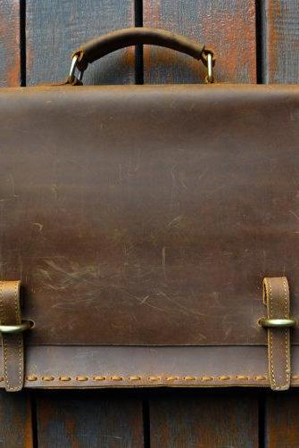 Handmade Genuine Leather Messenger Bag 14-inch Laptop Bag MacBook Bag 20