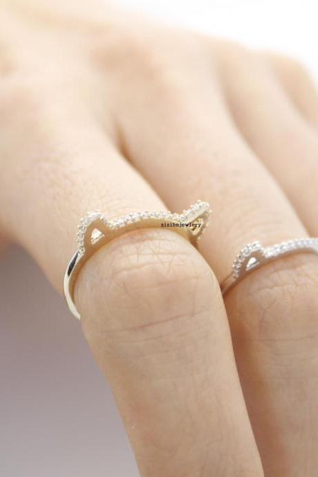 Cat Ears Ring detailed with CZ Stacking Ring, kitty cat ring in 2 colors, R0411S