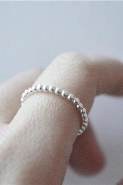 Simple silver ball ring, tiny thin circle ring, original design, sterling silver made (JZ37)