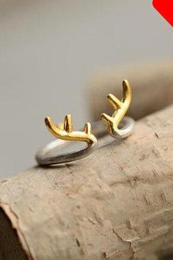 Antler ring, sterling silver deer antler ring, gold antler ring, silver antler ring, adjustable ring, special gift, big sale