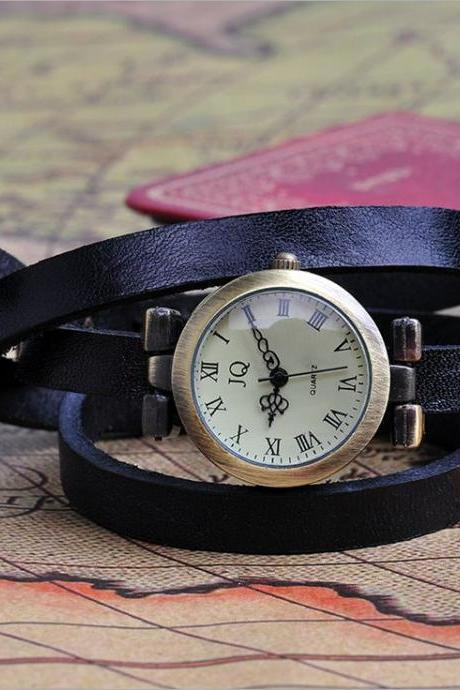 Wrap Bracelet black Leather Strap Girl Watch