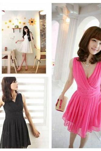 Ladies Cocktail Evening elegant chiffon Deep V-neck Gowns Party Sexy Mini Dress