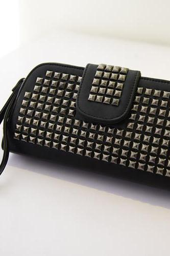 Studded Black and red Clutch Bag