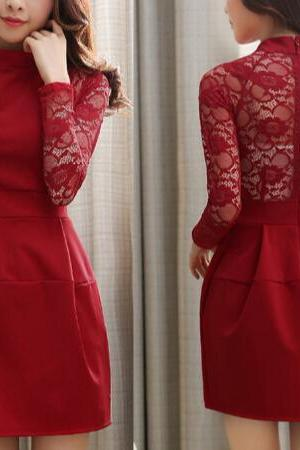 Slim round neck long-sleeved lace dress WE12806OP