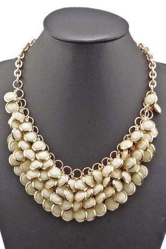 Vintage Bohemia white statement dress party woman necklace
