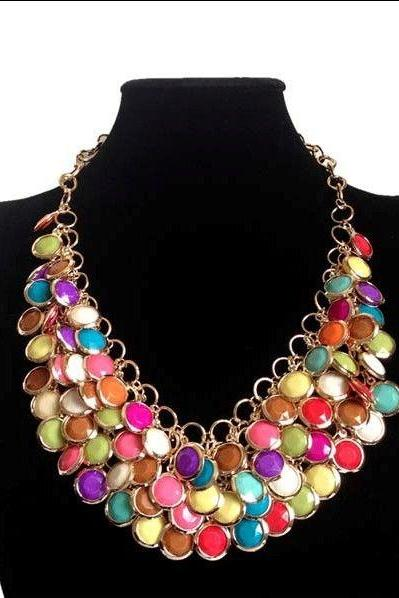 Vintage Bohemia colorful statement dress party woman necklace