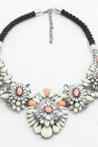 Floral white-pink statement jewelry evening woman necklace