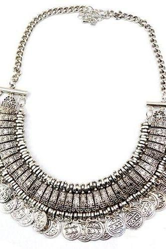 Vintage antic silver fashion choker woman necklace