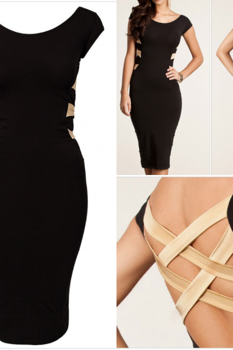 Summer wear fashionable elegant black party night bandage dress