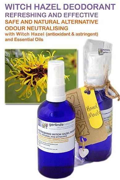 Pure Herbal Witch Hazel Deodorant with Essential Oils - safe & natural - 100ml