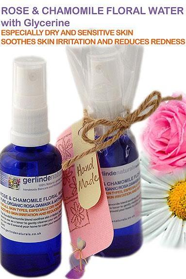 Pure Organic Rose/Chamomile Floral Water Blend / Toner 100ml - especially for dry and sensitive skin