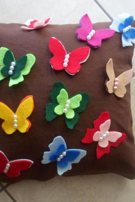 multi clolor butterflies pillow case /brown cover pillow/children room 14''*14''