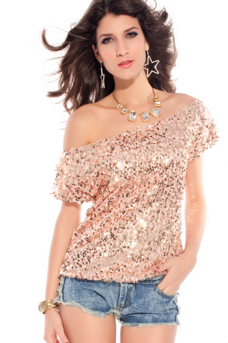Seductive Glistening Sequin Off shoulder top