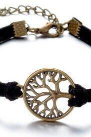 Tree of life black rope casual luck girl bracelet