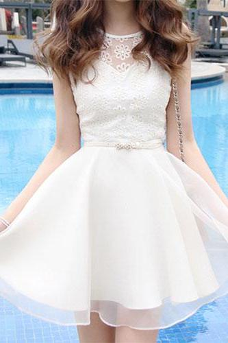 Korean Style Embroidery Lace Chiffon Short Sleeve Dress With Bowknot Belt