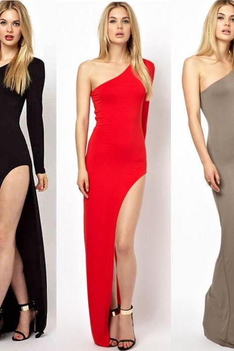 Sexy Women Slim One Shoulder Side Split Maxi Dress Coctail Party Evening Prom