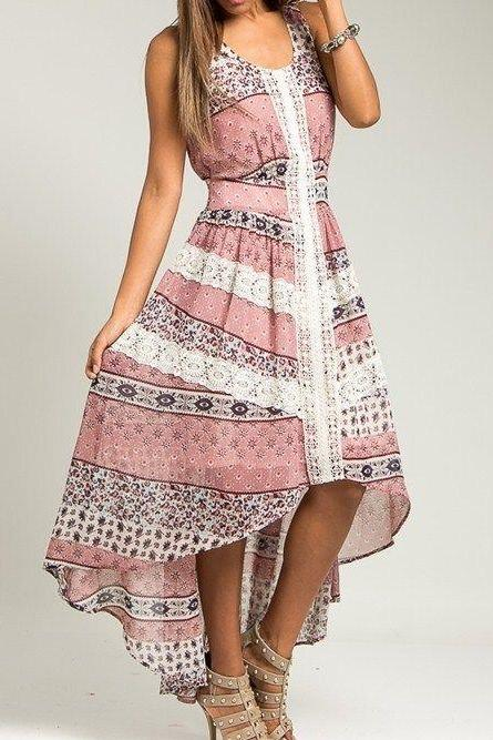 NEW S,M,L PINK MAUVE FLORAL PRINT WHITE LACE TRIM HIGH LOW SLEEVELESS SUN DRESS