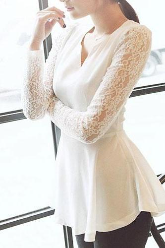 V Neck White Black Lace Chiffon Shirt Mini Dress Ruffled Skirt