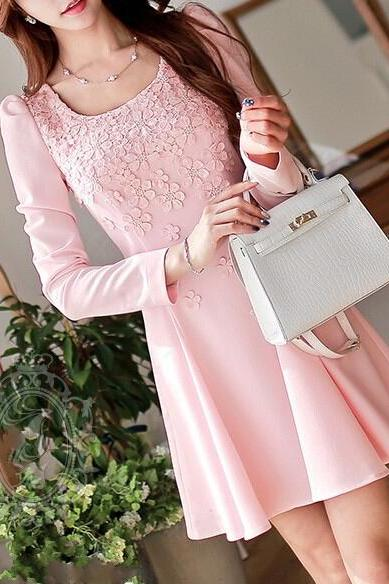 Pink Flowers Lace Long-Sleeved Dress