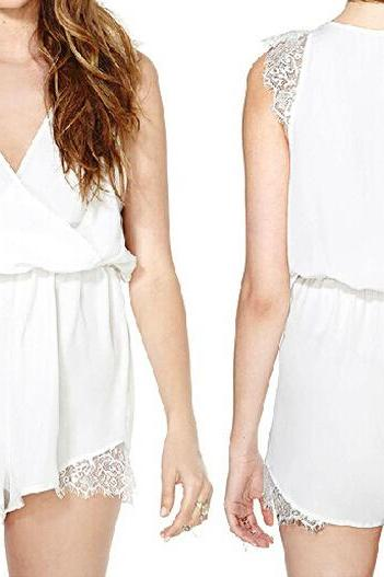 White Lace Wrap Romper