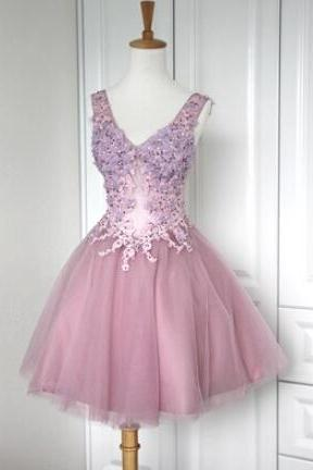 Cute Tulle V-neckline Short Lace-up Prom Dresses 2016 with Applique, Lovely Short Prom Dresses 2016, Homecoming Dresses, Graduation Dresses