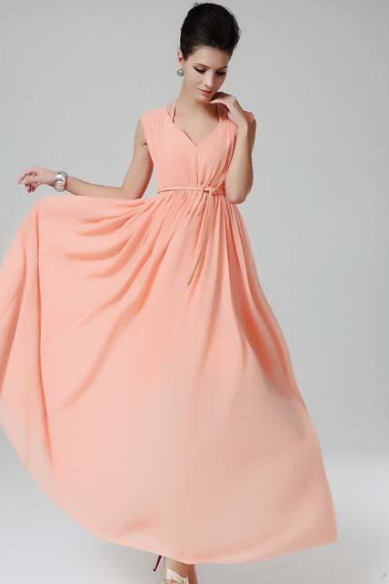 Charming Double V Neck Coral Maxi Dress With Sheared Waist - Pink