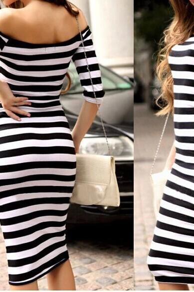 Slim Fashion Sexy Striped Dress
