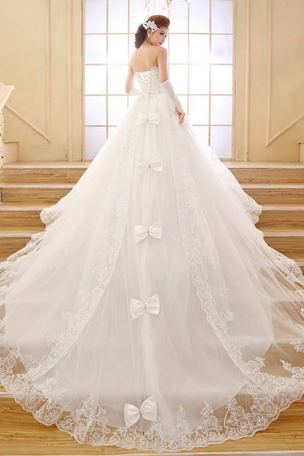 Niang dress 2015 new long trailing strapless lace with the tail wedding dress